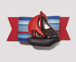 "#1334 - 5/8"" Dog Bow - Nautical, Red/White/Blue with Sailboat"