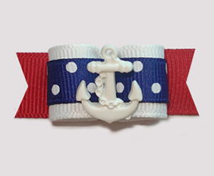 "#1335 - 5/8"" Dog Bow - Nautical, Red/White/Blue, White Anchor"