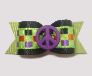 "#1336 - 5/8"" Dog Bow - Peace, Purple, Multi-Color Checks"