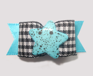"#1347 - 5/8"" Dog Bow - Blue Star, B&W Gingham with Blue"