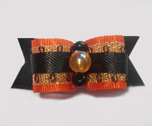 "#1352 - 5/8"" Dog Bow - Fancy Autumn, Orange, Gold Shimmer, Black"