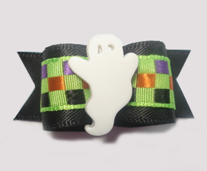 "#1353 - 5/8"" Dog Bow - Groovy Ghost, Fun Checks on Black"