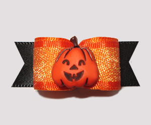 "#1357 - 5/8"" Dog Bow - Shimmery Fall Pumpkin, Orange & Black"