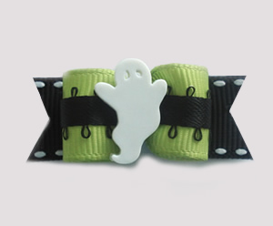 "#1360 - 5/8"" Dog Bow - Cool Ghost, Green & Black"