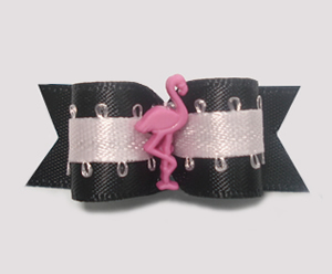 "#1363 - 5/8"" Dog Bow - Pink Flamingo with Flair, Black & Pink"