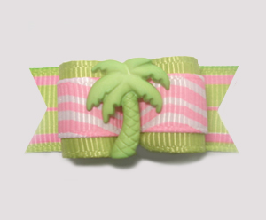 "#1364 - 5/8"" Dog Bow - Cool Tropical Palm Tree, Lime w/Pink"