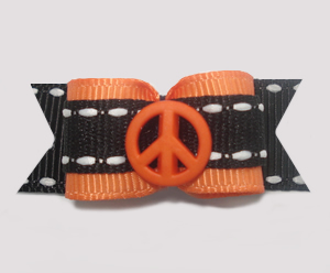 "#1365 - 5/8"" Dog Bow - Cool! Peace Sign, Orange with Black"