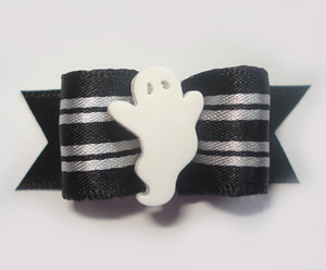 "#1371 - 5/8"" Dog Bow - Chic Ghost, Silver/Gray/Black Stripes"