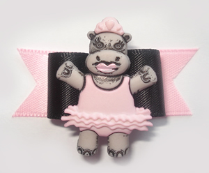 "#1374 - 5/8"" Dog Bow - Princess Ballerina Hippo with Pink Tutu"