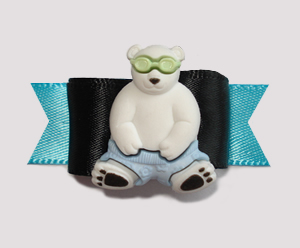 "#1377 - 5/8"" Dog Bow - Cool Polar Bear with Sunglasses"