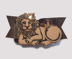 "#1378 - 5/8"" Dog Bow - King of Beasts, Lion, Brown Satin"