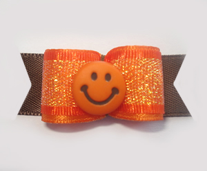 "#1380 - 5/8"" Dog Bow - Orange Smiley, Orange Shimmer w/Brown"