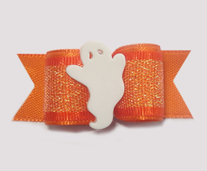 "#1391 - 5/8"" Dog Bow - Sweet Ghost, Shimmery Orange"