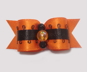 "#1393 - 5/8"" Dog Bow - Beautiful Fall Style, Orange & Black"