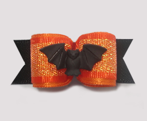 "#1396 - 5/8"" Dog Bow - Beautiful Bat, Orange Shimmer"