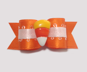 "#1399 - 5/8"" Dog Bow - Fancy Vibrant Orange Satin, Candy Corn"
