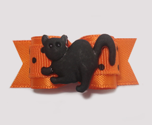 "#1400 - 5/8"" Dog Bow - Cool Cat, Orange with Tiny Black Dots"