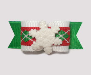 "#1403 - 5/8"" Dog Bow - Snowflake, Preppy Seasonal"