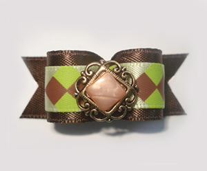 "#1406 - 5/8"" Dog Bow - Charming, Fancy, Green & Brown Diamonds"