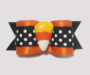"#1407 - 5/8"" Dog Bow - Sweet Candy Corn, Orange Satin, B/W Dots"