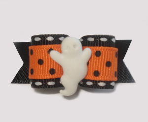 "#1408 - 5/8"" Dog Bow - Trendy Ghost, Orange with Tiny Black Dots"