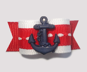 "#1417 - 5/8"" Dog Bow - Nautical, Red/White/Blue with Blue Anchor"