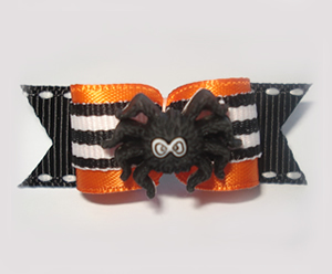 "#1419 - 5/8"" Dog Bow - Creepy Spider, Orange with B/W Stripes"