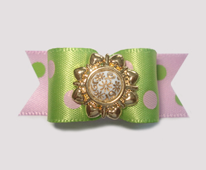 "#1420 - 5/8"" Dog Bow - Something Different, Pink & Green Dots"