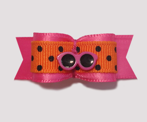"#1430 - 5/8"" Dog Bow - Pink Shades, Hot Pink & Orange, Black Dot"
