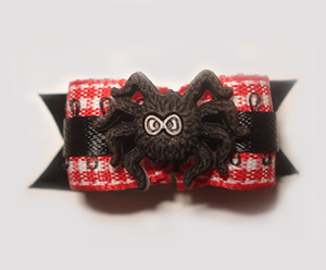 "#1438 - 5/8"" Dog Bow - Eeek! Spider, Red & White Gingham w/Black"