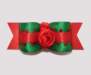 "#1450 - 5/8"" Dog Bow - Green & Red Satin, Red Rosette"