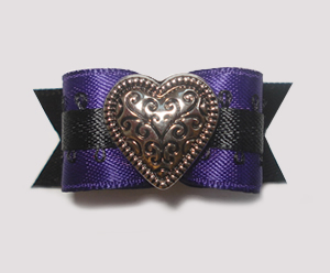 "#1460 - 5/8"" Dog Bow - Unique Silver Heart, Purple & Black"