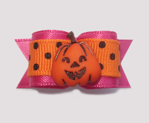 "#1471 - 5/8"" Dog Bow - Cool Pumpkin, Dots, Hot Pink & Orange"