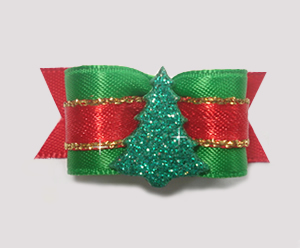 "#1476 - 5/8"" Dog Bow - Gorgeous Sparkling Tree, Red, Green, Gold"