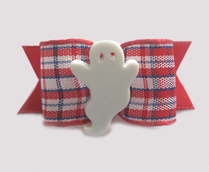 "#1478 - 5/8"" Dog Bow - Sweet Ghost, Red, White & Blue Gingham"