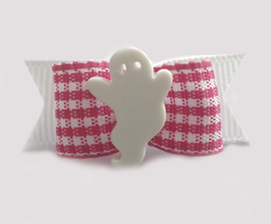 "#1481 - 5/8"" Dog Bow - Adorable Ghost, Pink & White Gingham"