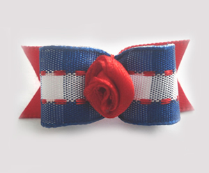 "#1484 - 5/8"" Dog Bow - Blue & White Gingham w/Red, Rosette"