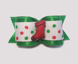 "#1491 - 5/8"" Dog Bow - Red Stocking, Red, Green & White, Dots"