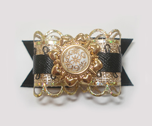 "#1502 - 5/8"" Dog Bow - Ultimate Ornate Fancy, Gold & Black"