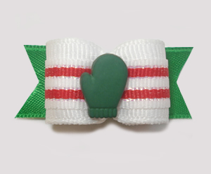 "#1503 - 5/8"" Dog Bow - Little Green Mitten, White & Red Stripes"