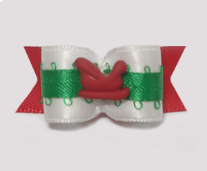 "#1508 - 5/8"" Dog Bow - Cute Tiny Red Sleigh, White, Red & Green"