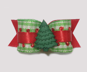 "#1510 - 5/8"" Dog Bow - Adorable Winter Evergreen, Green Gingham"