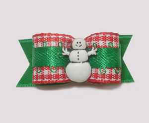 "#1511 - 5/8"" Dog Bow - Cute Snowman, Red & White Gingham w/Green"