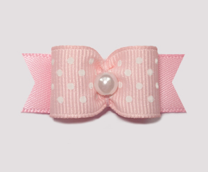 "#1521 - 5/8"" Dog Bow - Baby Pink & White Swiss Dots, Pearl"