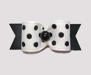 "#1523 - 5/8"" Dog Bow - Simply Chic, White & Black, Dots"