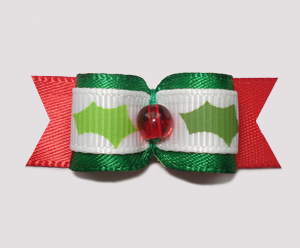 "#1524 - 5/8"" Dog Bow - Holiday Holly, Green, White & Red"