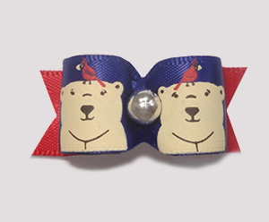 "#1525 - 5/8"" Dog Bow - Winter Bears, Blue & Red with Silver"