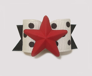 "#1528 - 5/8"" Dog Bow - My Star, Black & White Dots, Red Star"