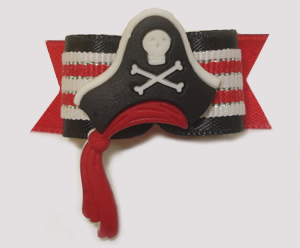 "#1529 - 5/8"" Dog Bow - Spectacular Pirate Hat with Red Sash"