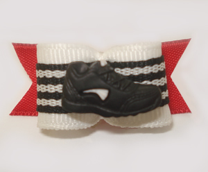 "#1532 - 5/8"" Dog Bow - Athletic Shoe, Black, White & Red"
